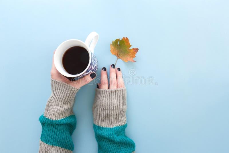 拿着一个杯子与秋天叶子的新近地煮的无奶咖啡,在蓝色背景的舱内甲板位置的手 免版税库存照片