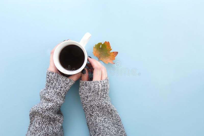 拿着一个杯子与秋天叶子的新近地煮的无奶咖啡,在蓝色背景的舱内甲板位置的手 库存图片