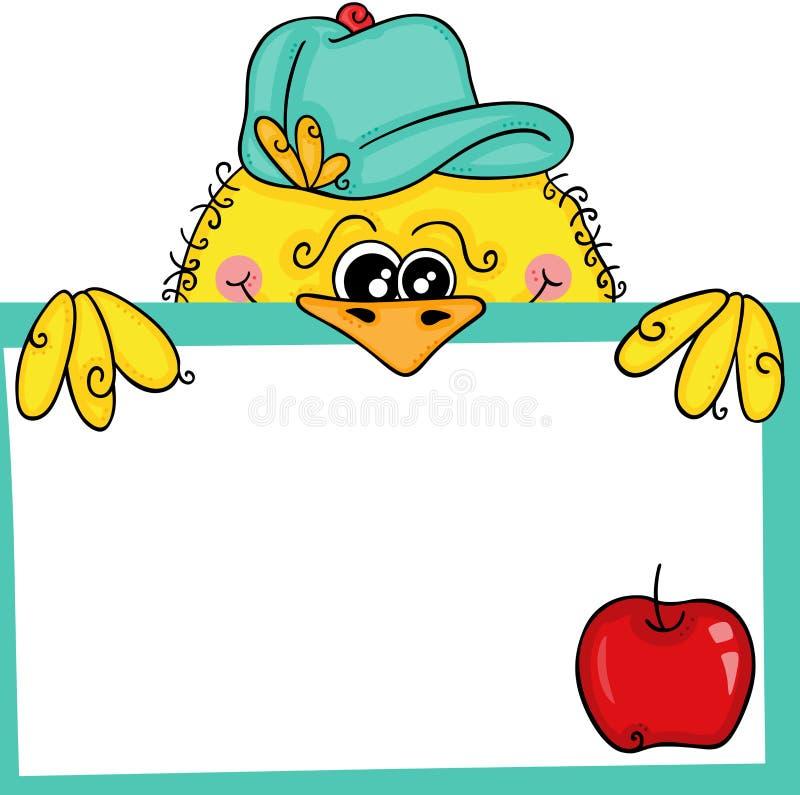 拿着一个标签空白标记用樱桃的黄色鸟 皇族释放例证