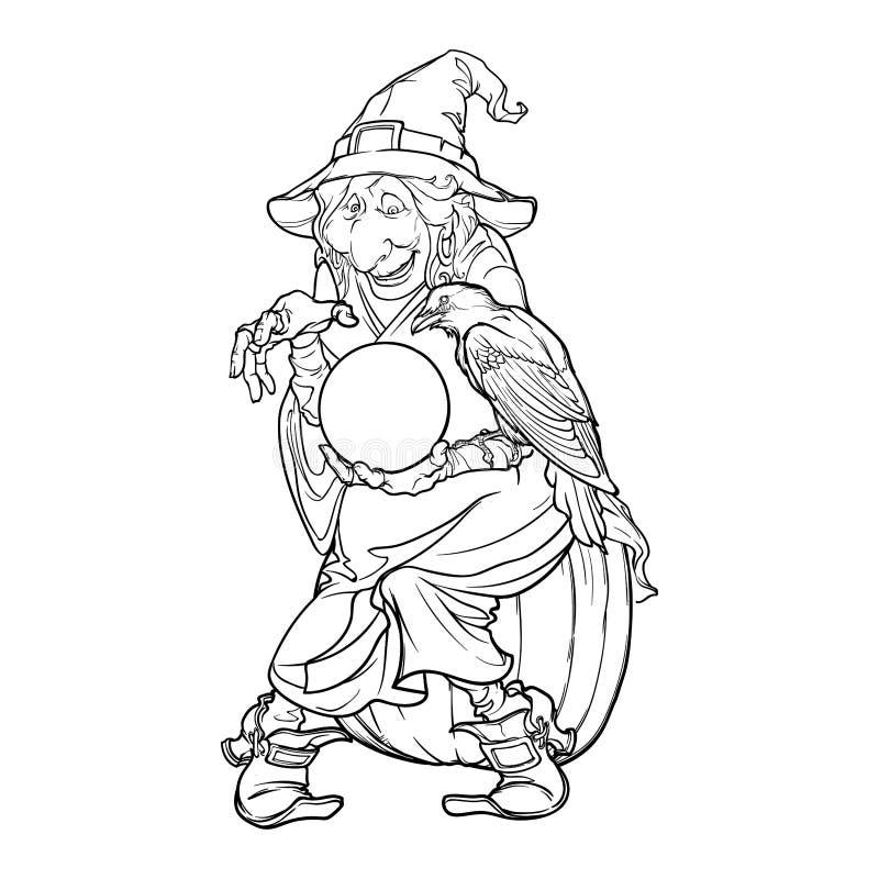 拿着一个水晶球和预言未来的锥体帽子的老巫婆 滑稽的动画片样式字符 黑色和 库存例证