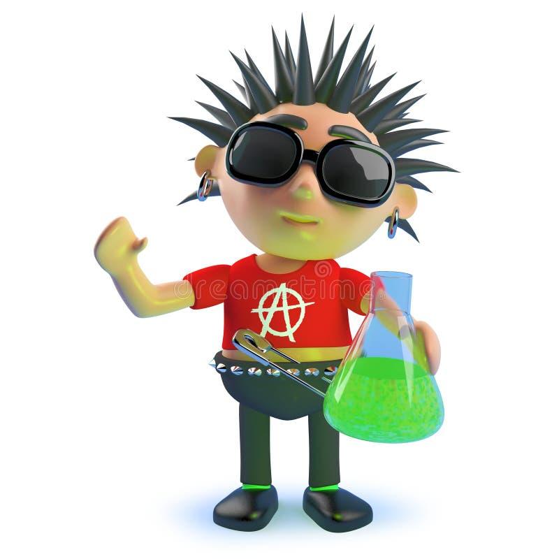 拿着一个烧瓶绿色液体,3d的动画片腐烂的庞克摇滚乐字符例证 皇族释放例证