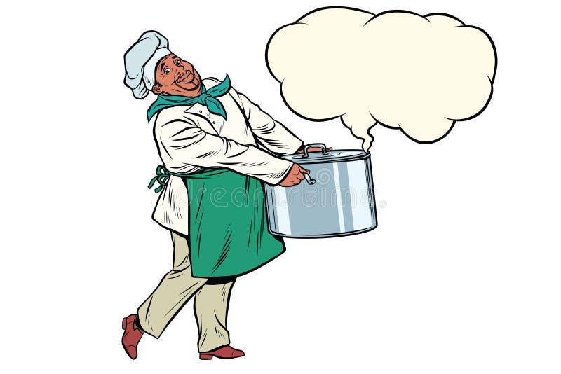 拿着一个热的罐,蒸汽云彩的非洲厨师  皇族释放例证
