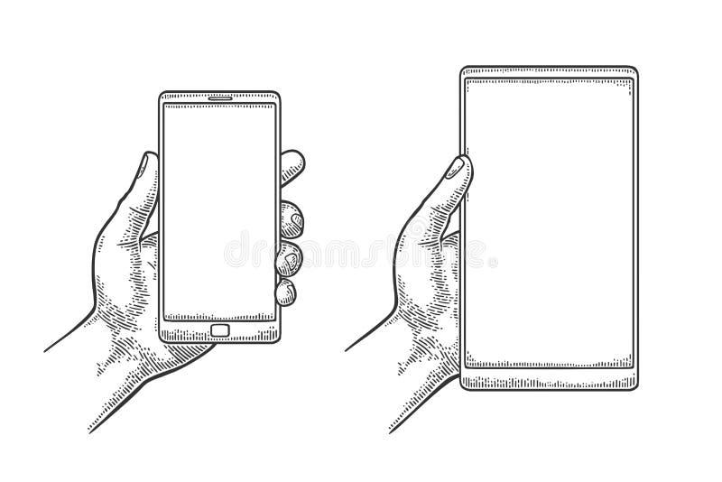 拿着一个现代手机的男性手 葡萄酒被画的传染媒介板刻 向量例证