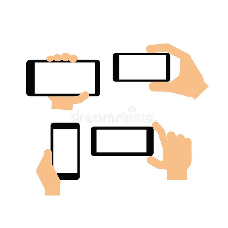 拿着一个现代设备的手 向量例证