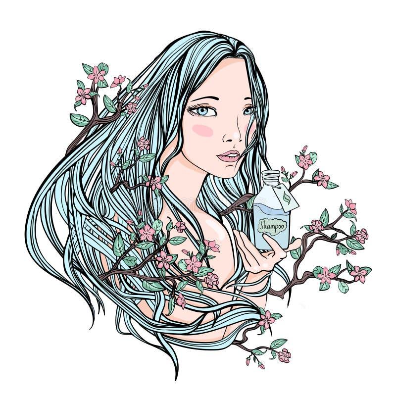 拿着一个瓶化妆用品的美丽的女孩 她的头发的-自然化妆用品的标志开花的佐仓 向量 向量例证
