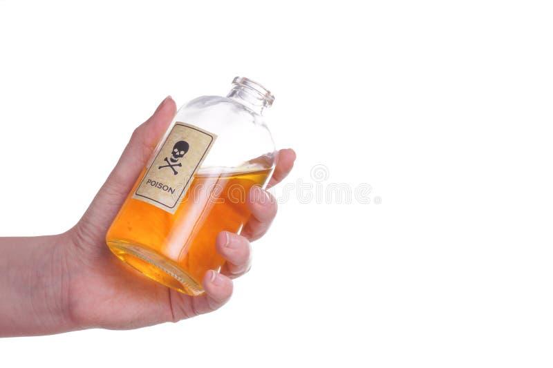 拿着一个瓶毒物的手 免版税库存图片