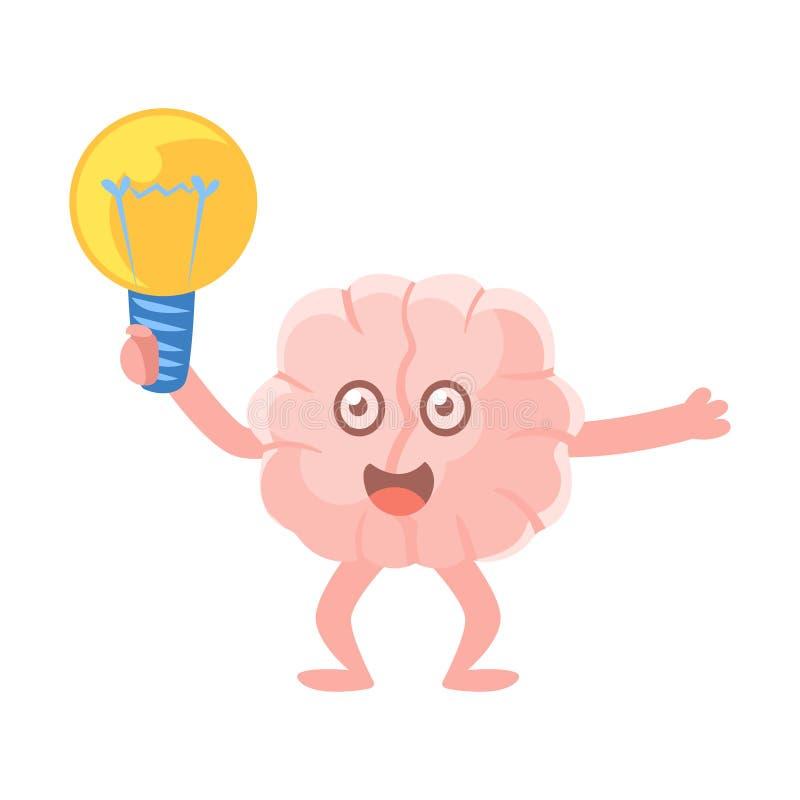 拿着一个电电灯泡的被赋予人性的脑子被激发有想法,智力人体器官漫画人物Emoji象 库存例证