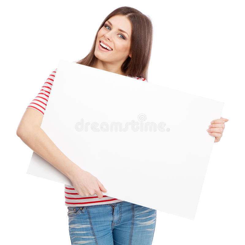 Download 拿着一个白板的偶然少妇 库存照片. 图片 包括有 beautifuler, 快乐, 愉快, 空白的, 相当 - 30335930