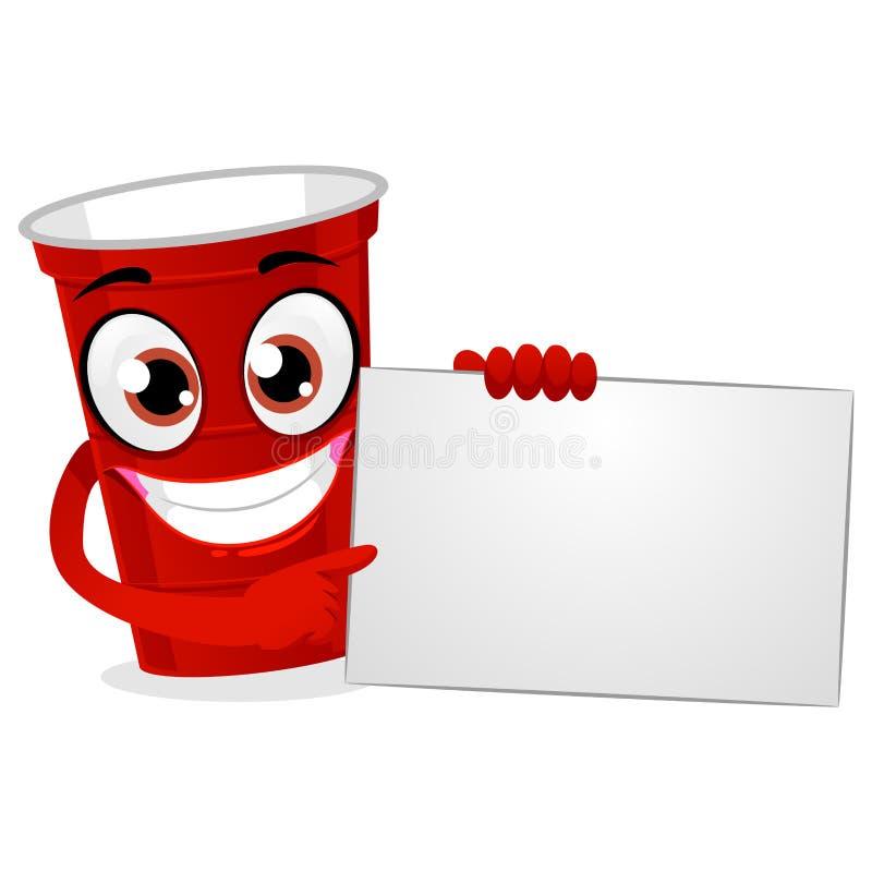 拿着一个白空白的委员会的红色塑料啤酒Pong杯 向量例证