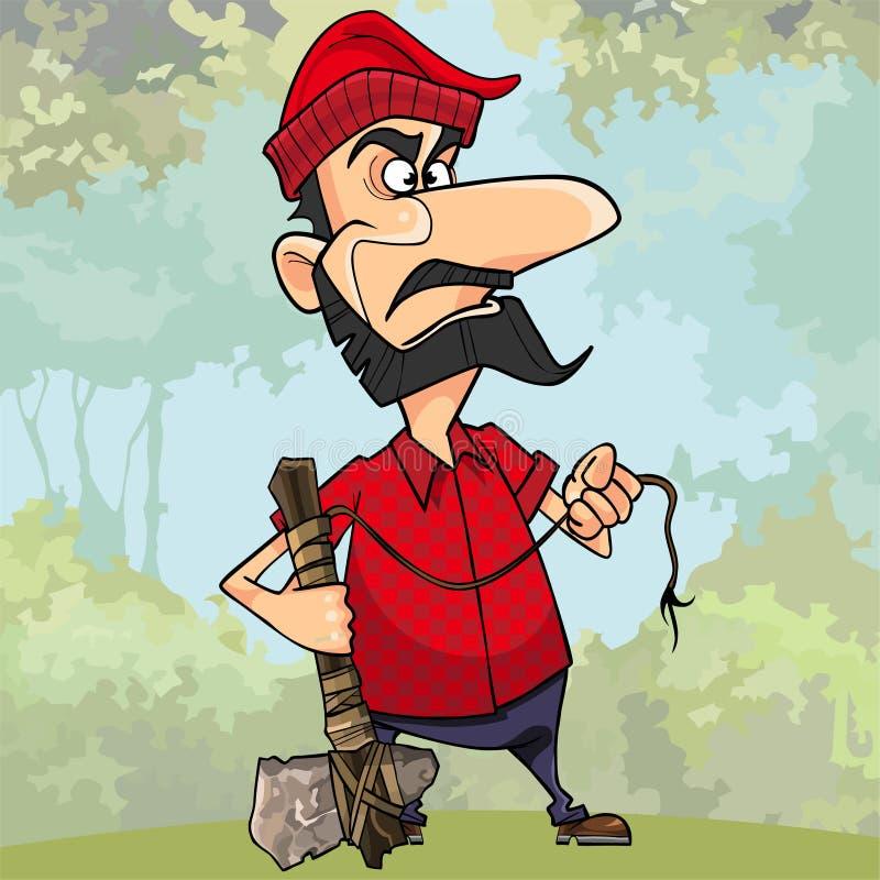 拿着一个石轴的沮丧的动画片伐木工人在森林里 皇族释放例证