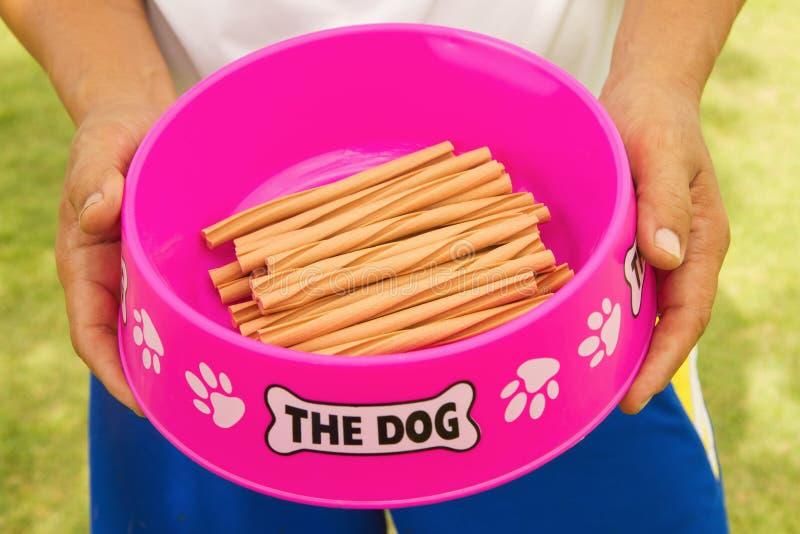 拿着一个碗狗的人的手对待 免版税库存图片