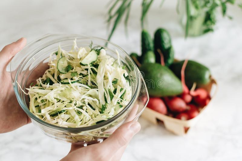 拿着一个碗用与shredde的马约角自由的油菜slaw沙拉的手 免版税图库摄影