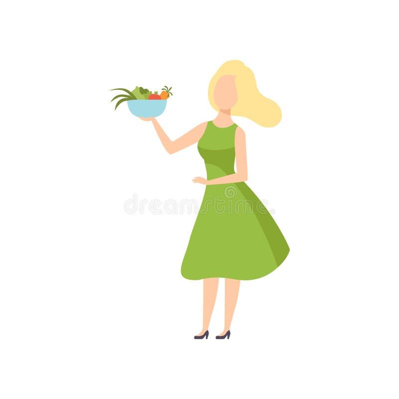 拿着一个碗菜的年轻美女,健康吃,饮食,有机素食主义者食物传染媒介例证 库存例证