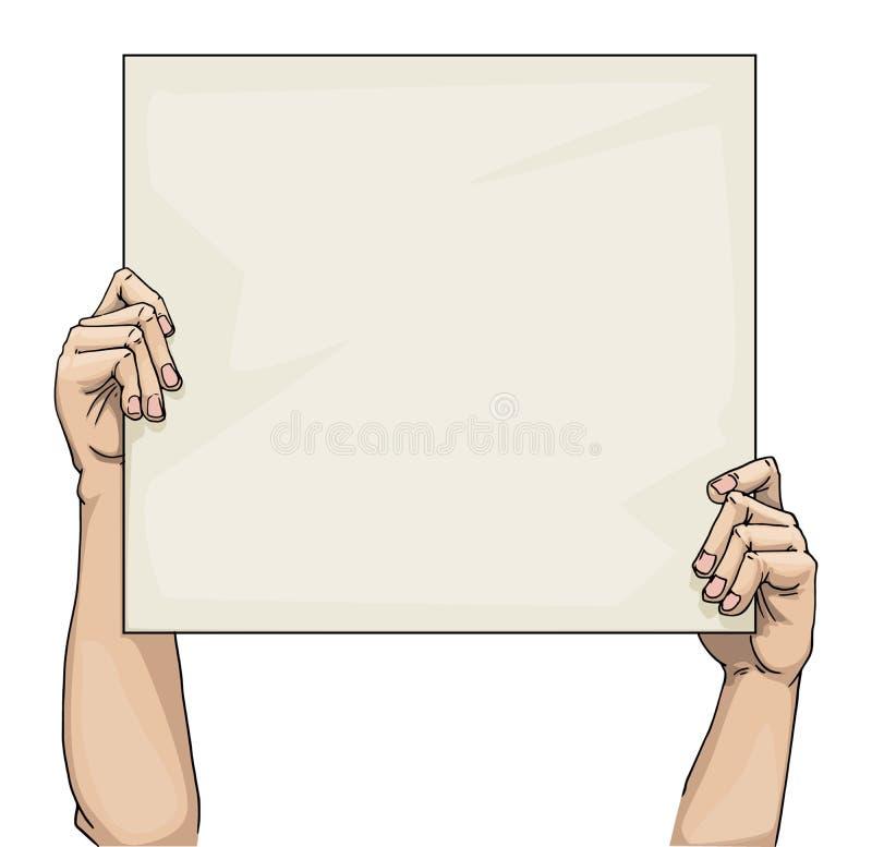 拿着一个空白的标志的手 库存例证