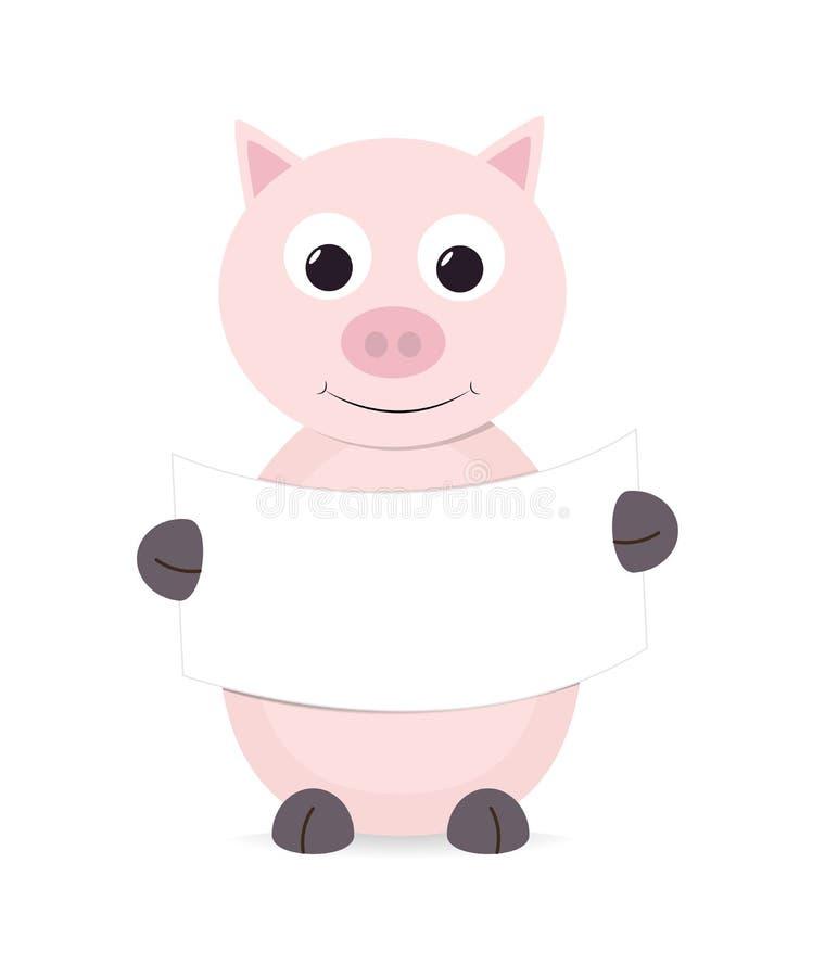拿着一个空白符号例证的逗人喜爱的动画片猪图片