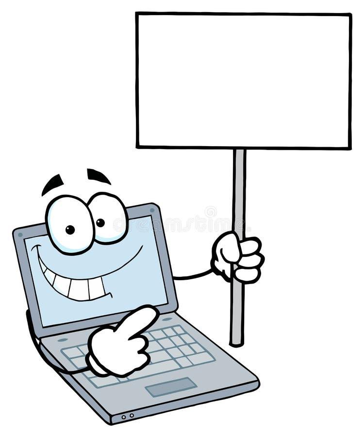 拿着一个空白符号的膝上型计算机人 向量例证
