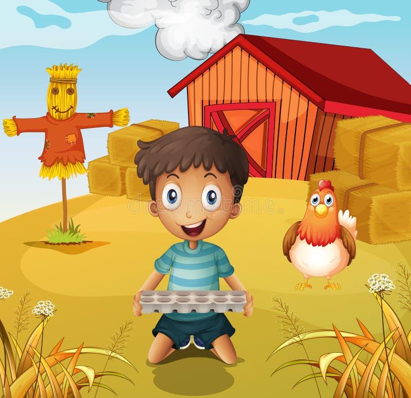 拿着一个空的蛋盘子的男孩在有稻草人的农场 向量例证