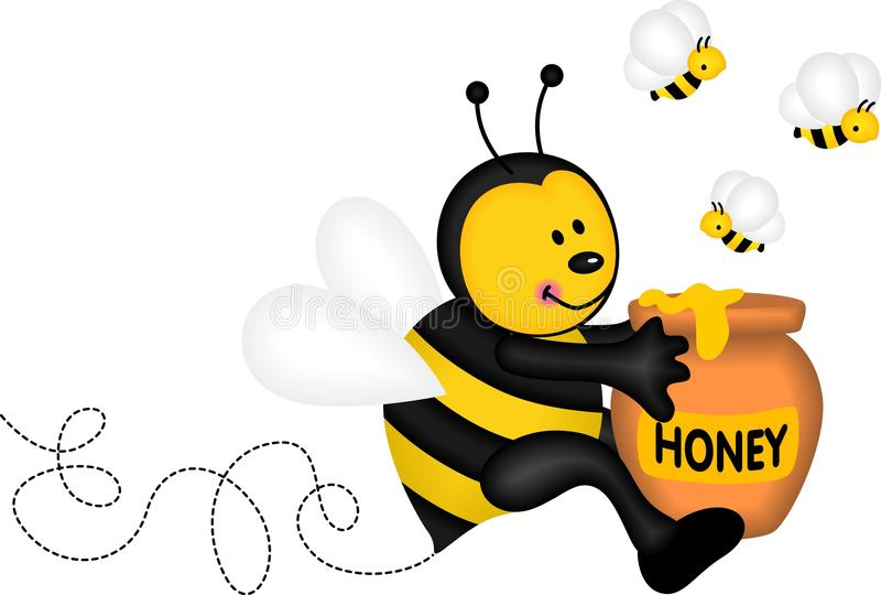 拿着一个罐蜂蜜的蜂 皇族释放例证