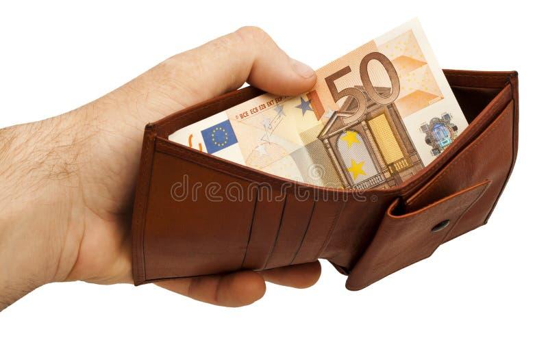 拿着一个被打开的皮革钱包的商人手 免版税图库摄影