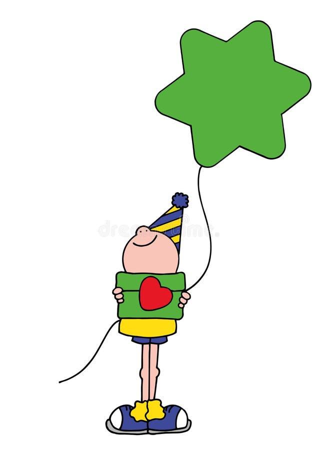 拿着一个绿色星状气球的男孩的例证 免版税图库摄影