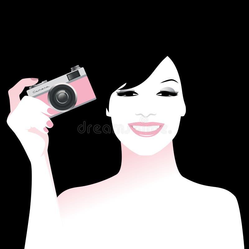 拿着一台减速火箭的照片照相机,葡萄酒样式的美丽的微笑的女孩 向量例证