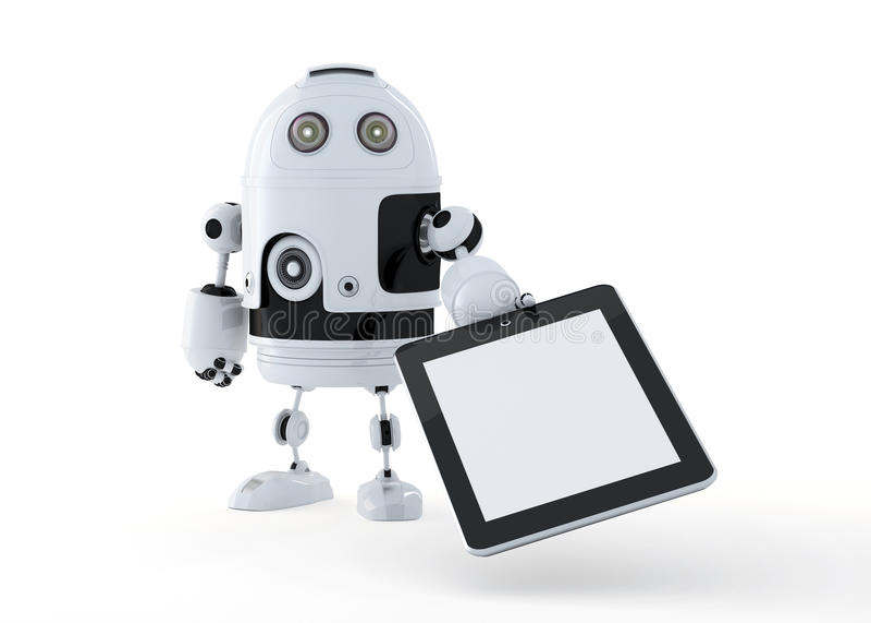 拿着一台空白的数字式片剂个人计算机的机器人机器人。 皇族释放例证