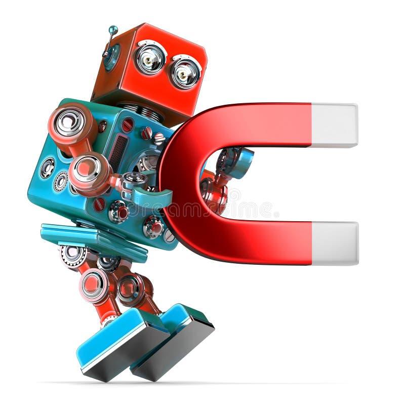 拿着一块大磁铁的减速火箭的机器人 3d例证 查出 联系人 库存例证
