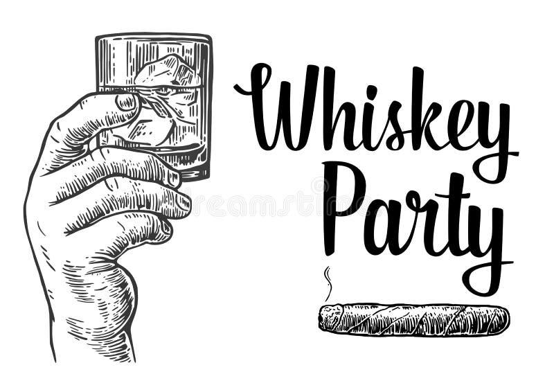 拿着一块玻璃用威士忌酒和冰块的男性手 手拉的设计元素 葡萄酒传染媒介标签的板刻例证, 向量例证
