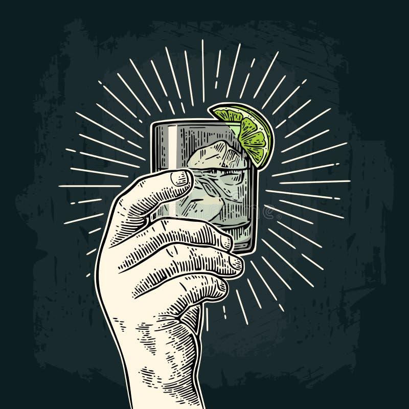 拿着一块玻璃用杜松子酒的男性手 葡萄酒传染媒介板刻 皇族释放例证