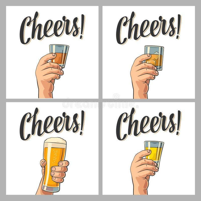 拿着一块玻璃用啤酒,兰姆酒,龙舌兰酒,威士忌酒的男性手 皇族释放例证