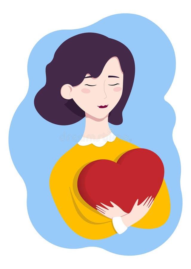拿着一大红心的女孩 日s华伦泰 有短的理发的美丽的少女 有心脏的甜被迷恋的女孩 库存照片