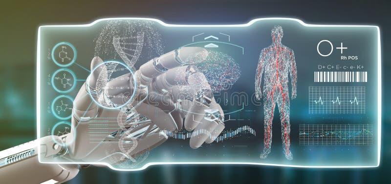 拿着一未来派模板医疗接口hud的靠机械装置维持生命的人手 库存照片