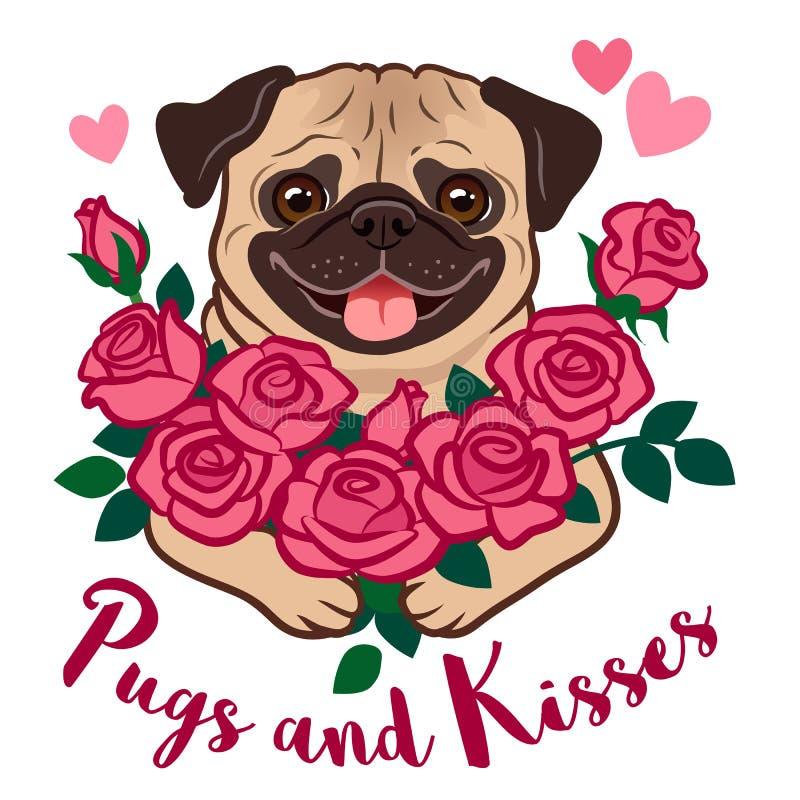 拿着一束桃红色玫瑰的滑稽的哈巴狗小狗,与心脏和文本 库存例证