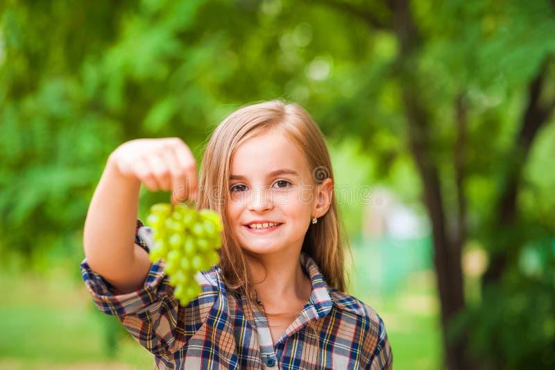 拿着一束绿色葡萄特写镜头的格子衬衫和牛仔裤的女孩 收获葡萄和女孩的种植园的概念 免版税库存图片