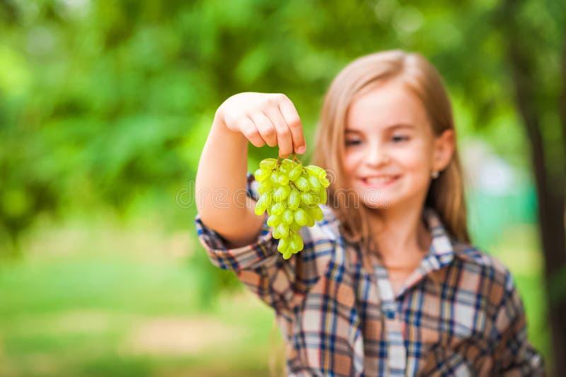 拿着一束绿色葡萄特写镜头的格子衬衫和牛仔裤的女孩 收获葡萄和女孩的种植园的概念 免版税库存照片