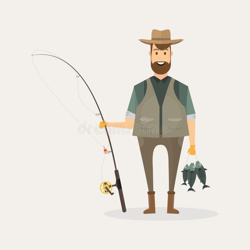 拿着一条大鱼和一根钓鱼竿有la的渔夫字符 库存例证