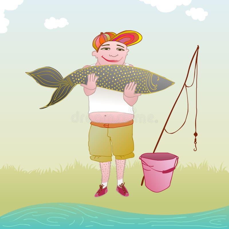 拿着一条非常大鱼的渔夫 向量例证