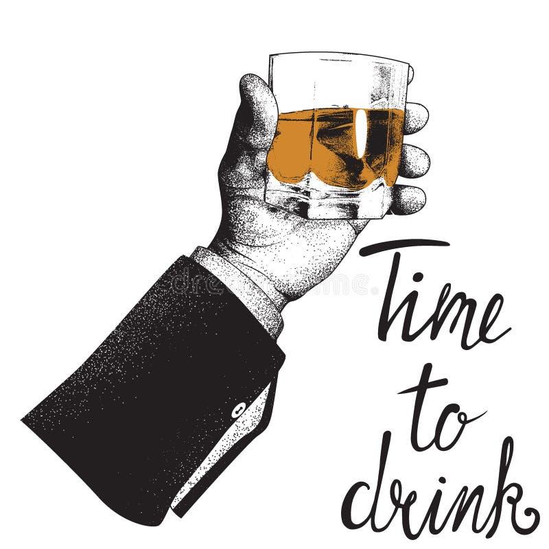 拿着一杯威士忌酒的男性手 皇族释放例证