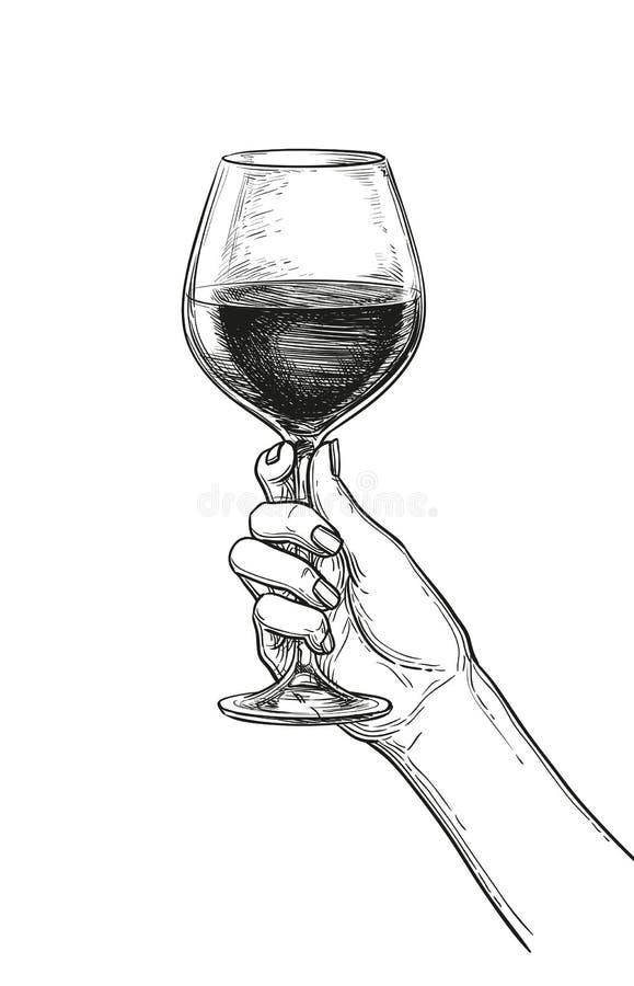 拿着一杯酒的手 向量例证