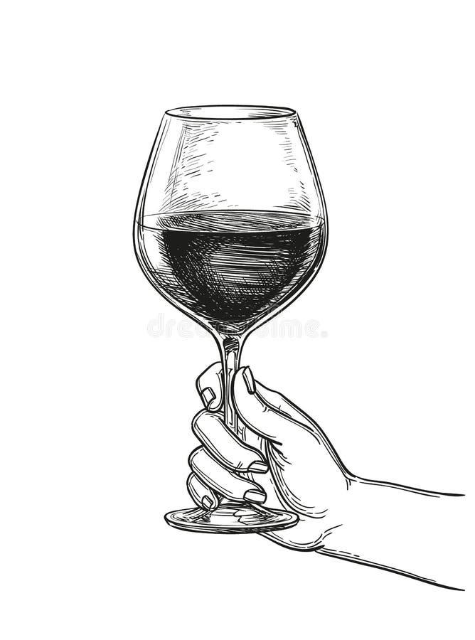 拿着一杯酒的手 皇族释放例证