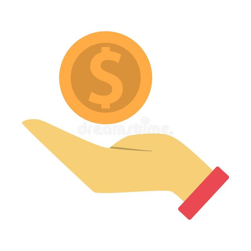 拿着一枚金黄硬币的手 银行业务想法  皇族释放例证