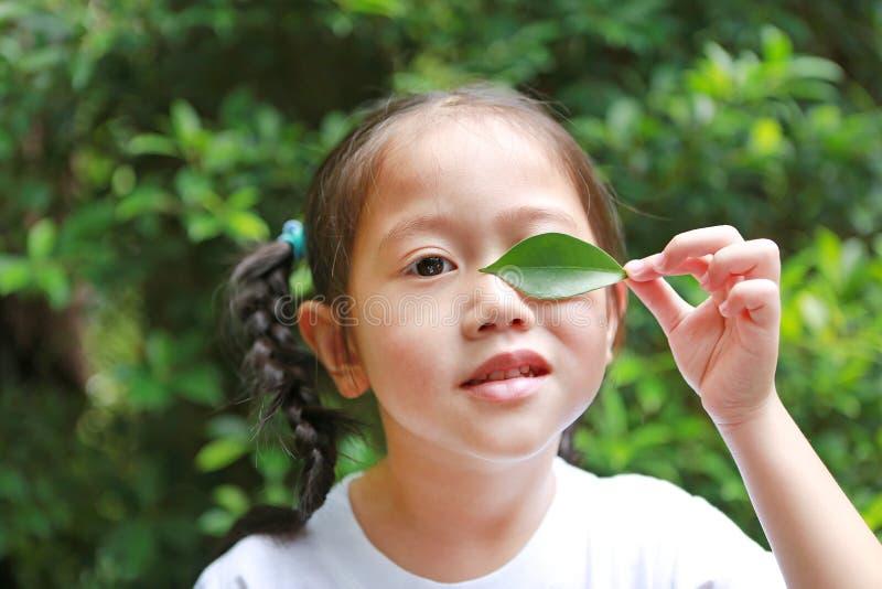 拿着一片绿色叶子的可爱的矮小的亚裔儿童女孩在绿色庭院背景中闭上左眼睛 免版税库存照片