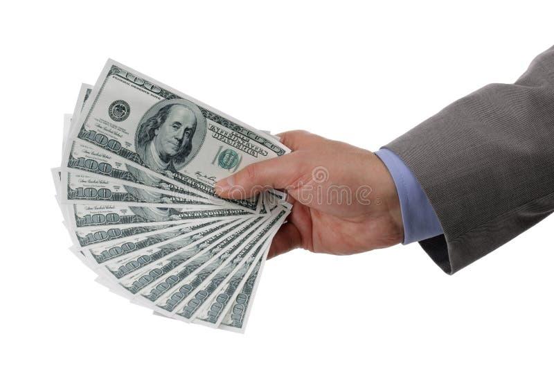 拿着一百元钞票 免版税图库摄影
