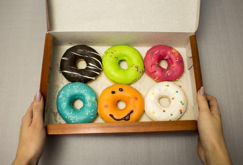 拿着一箱五颜六色的多福饼的女性手 免版税库存图片