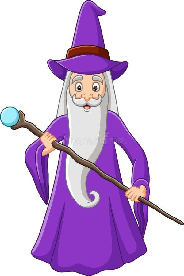 拿着不可思议的棍子的动画片老巫术师 向量例证