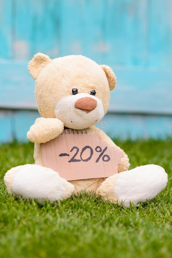 拿着与信息-20%的玩具熊纸板 库存图片