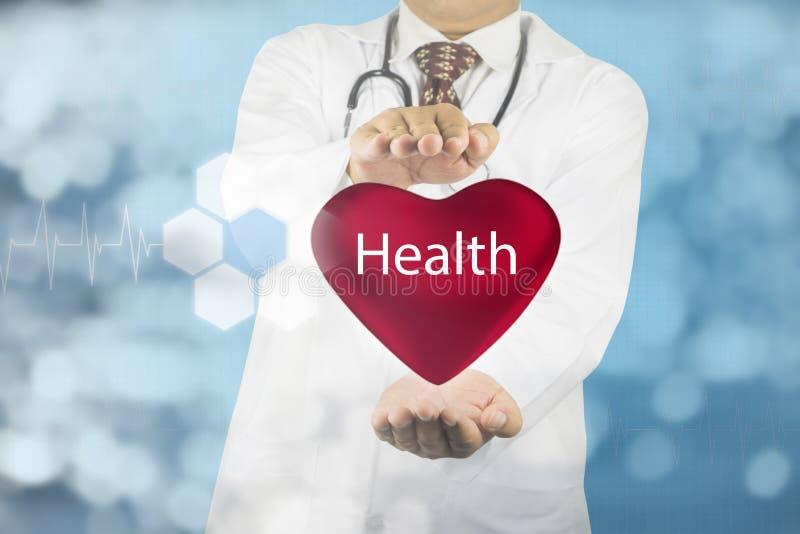拿着与健康标志的医生心脏 免版税图库摄影