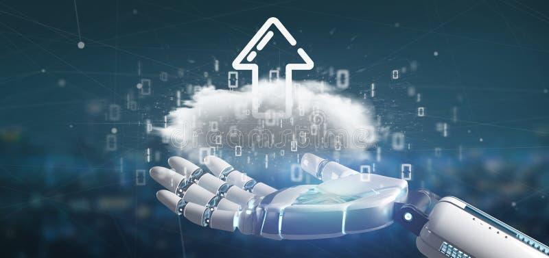 拿着与加载互联网箭头3d翻译的靠机械装置维持生命的人一朵二进制云彩 向量例证