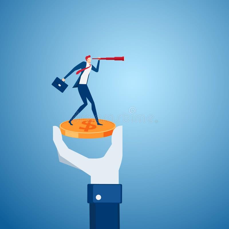 拿着与商人立场的一臂之力金钱硬币在金钱使用寻找投资,成功,机会的望远镜 库存例证