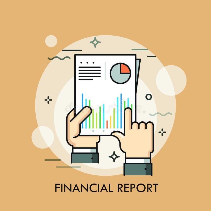 拿着与图和图表的人的手纸张文件对此 财政或统计报告,事务的概念 向量例证